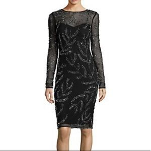 Betsy & Adam beaded long sleeve cocktail dress NWT